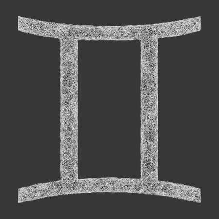 gemini zodiac: Gemini zodiac sign line art design on black background Illustration