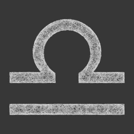 libra zodiac: Libra zodiac sign line art design on black background