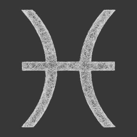 fate: Pisces zodiac sign line art design on black background