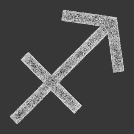 fate: Sagittarius zodiac sign line art design on black background Illustration