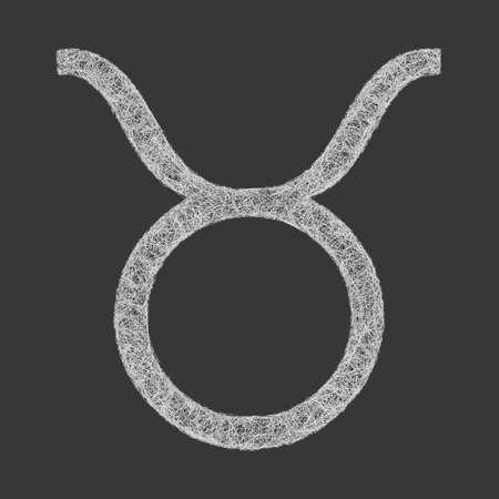 destiny: Taurus zodiac sign line art design on black background