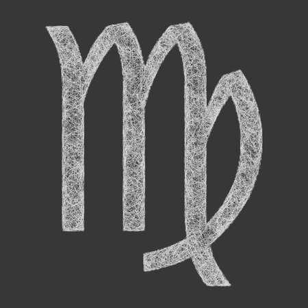 stellar: Virgo zodiac sign line art design on black background