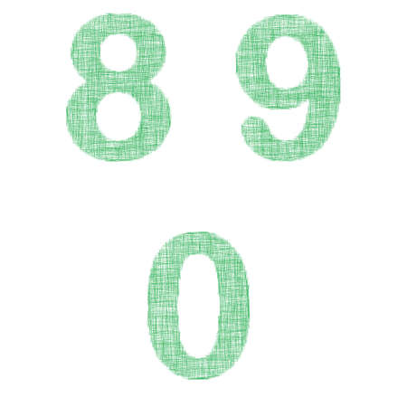 8 9: Green fabric font design set - numbers 8, 9, 0 Illustration
