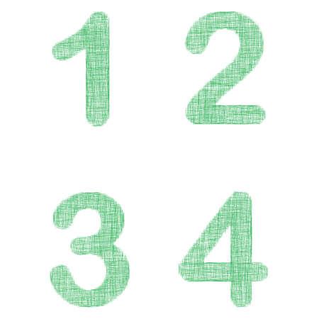 3 4: Green fabric font design set - numbers 1, 2, 3, 4