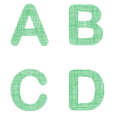 faint: Green fabric font design set - letters A, B, C, D Illustration