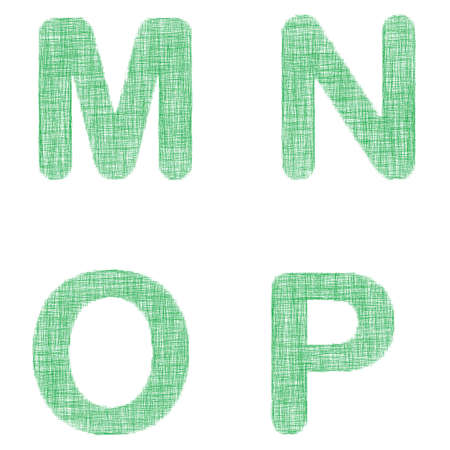 faint: Green fabric font design set - letters M, N, O, P