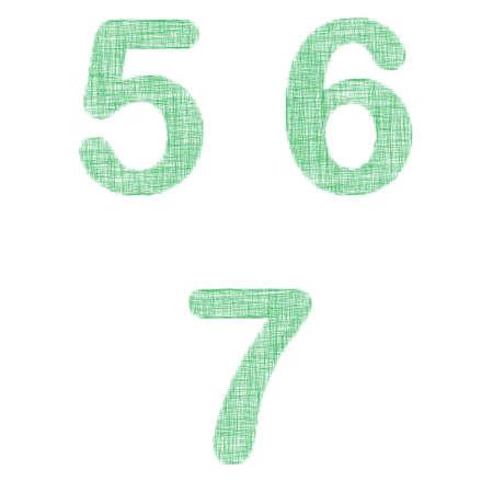 5 6: Green fabric font design set - numbers 5, 6, 7