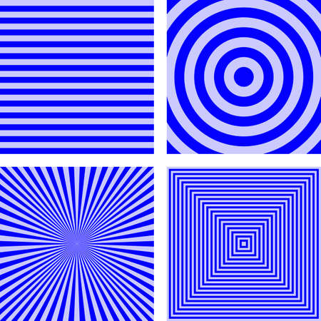 radio beams: Simple abstract blue striped pattern background set Illustration