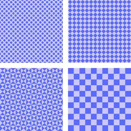 checked: Blue simple checked, dot, triangle pattern set