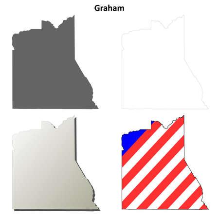 Graham: Graham County, Arizona blank outline map set