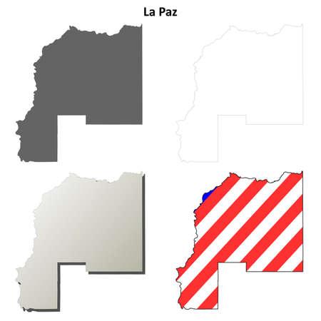 la: La Paz County, Arizona blank outline map set Illustration