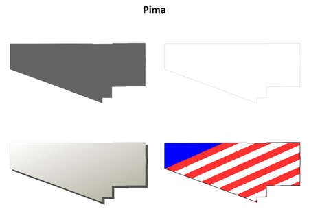 pima: Pima County, Arizona blank outline map set Illustration