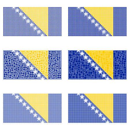 bosnia and herzegovina flag: Mosaic Bosnia and Herzegovina national flag vector design set