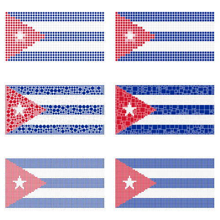 cuban flag: Mosaic Cuba national flag vector design set