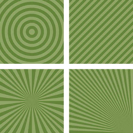 radio beams: Simple abstract green striped pattern background set Illustration