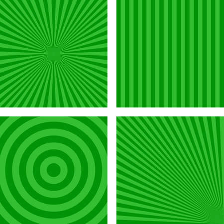 radio beams: Green simple abstract striped pattern background set Illustration