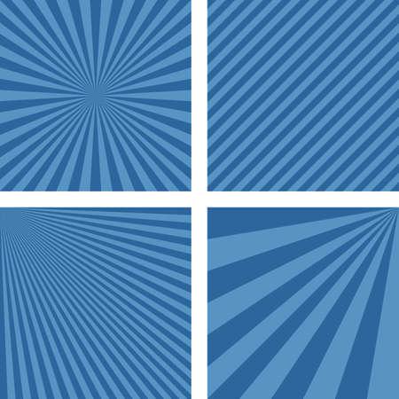 radiate: Blue simple striped pattern wallpaper design set Illustration