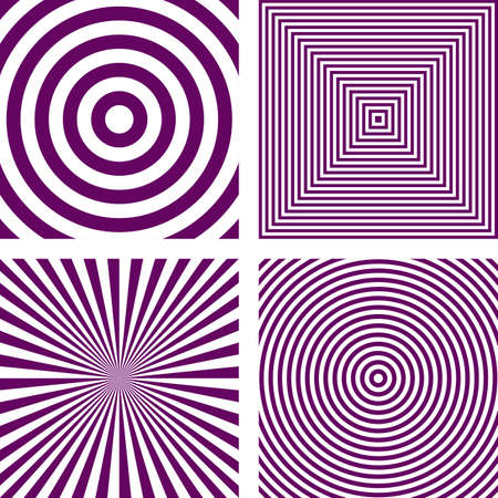 radio beams: Simple abstract purple striped pattern background set Illustration
