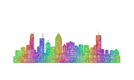 montreal: Montreal city skyline silhouette - multicolor line art Illustration