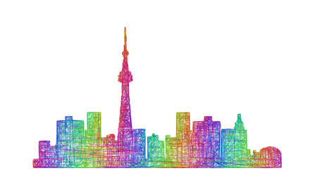toronto: Toronto city skyline silhouette - multicolor line art