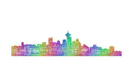 vancouver city: Vancouver city skyline silhouette - multicolor line art