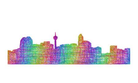 calgary: Calgary city skyline silhouette - multicolor line art