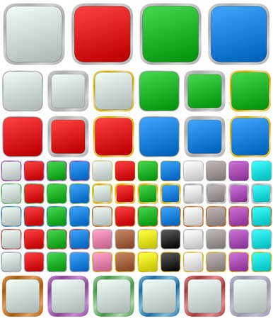 square buttons: Color metallic rounded square shape button set
