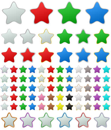 metallic button: Color metallic rounded star shape button set