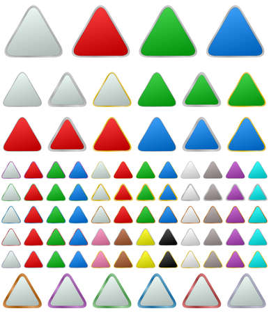 shape triangle: Color metallic rounded triangle shape button set
