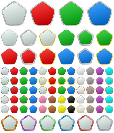 button set: Color metallic rounded pentagon shape button set