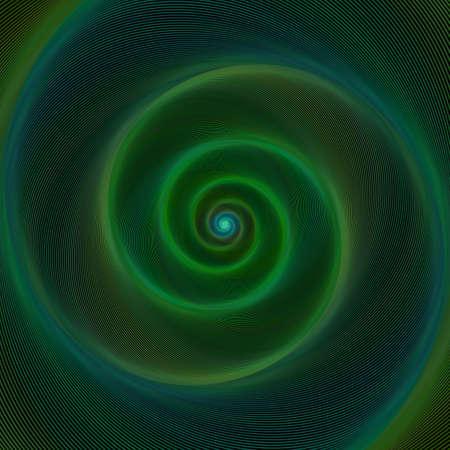 hues: Dark green neon light spiral design background