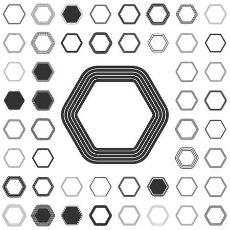 six web website: Black line hexagon icon design set