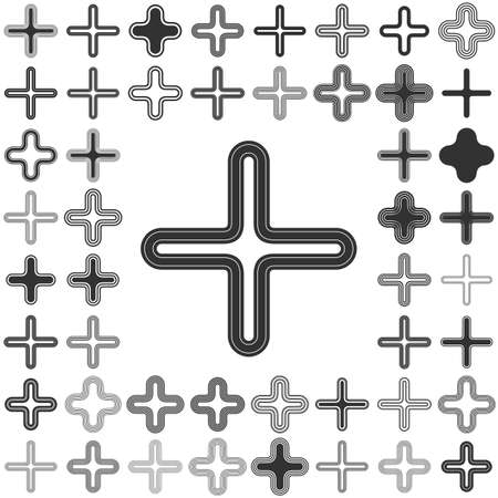 plus icon: Black line plus icon design set