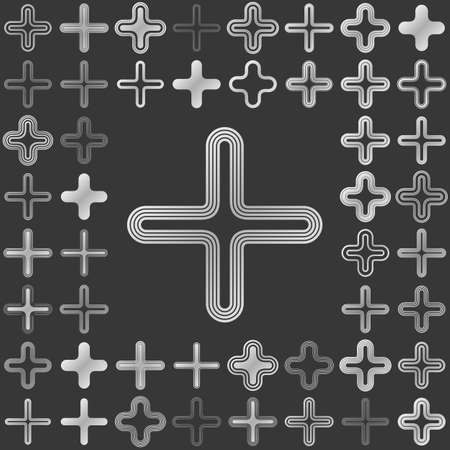 plus icon: Silver metallic line plus icon design set