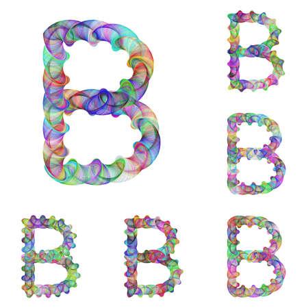 Colorful ellipse fractal font design - letter B