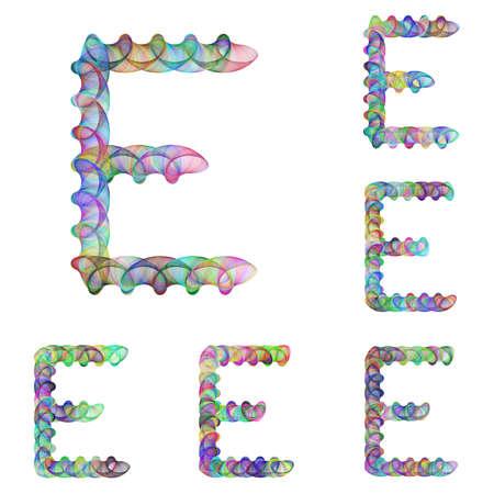 ellipse: Colorful ellipse fractal font design - letter E Illustration