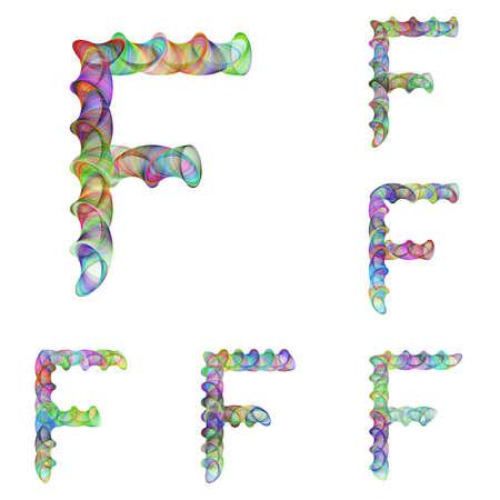 ellipse: Colorful ellipse fractal font design - letter F