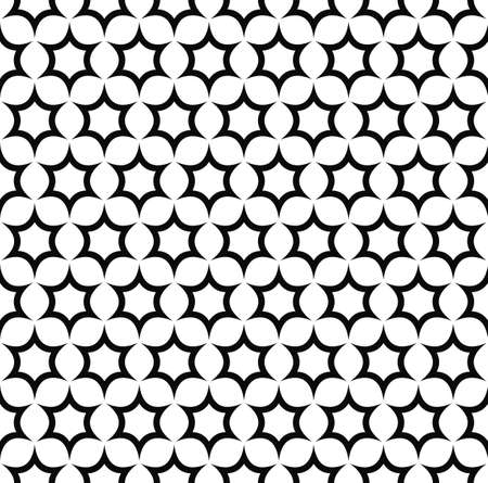 star pattern: Seamless black and white hexagonal vector star pattern design Illustration