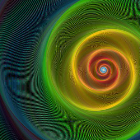 Green, yellow and red shiny spiral background Çizim