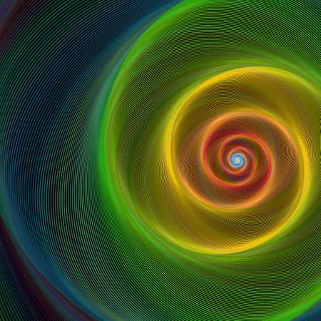 Groen, geel en rood glanzend spiraal achtergrond Stock Illustratie