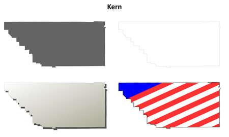 edward: Kern County, California blank outline map set Illustration