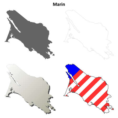 marin: Marin County, California blank outline map set Illustration