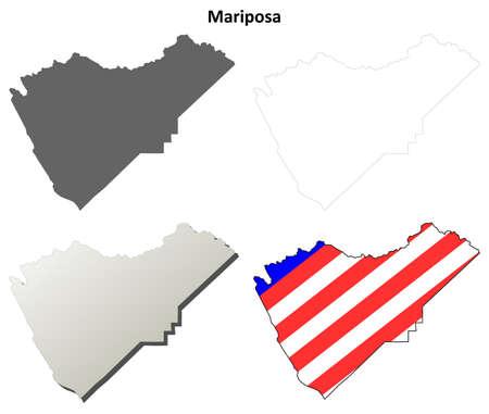 Mariposa County, California blank outline map set