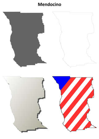 ca: Mendocino County, California blank outline map set Illustration