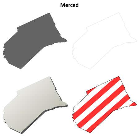 merced: Merced County, California blank outline map set Illustration