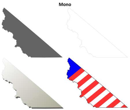 mono: Mono County, California blank outline map set