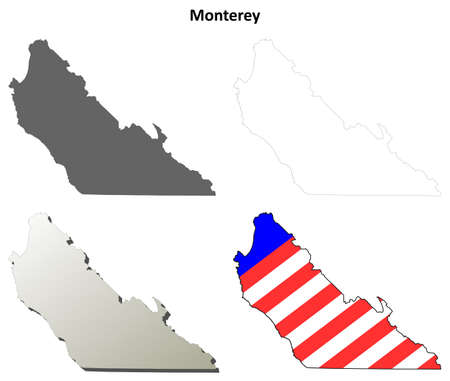 coastline: Monterey County, California blank outline map set Illustration