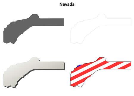 Nevada County, California blank outline map set Reklamní fotografie - 49992926