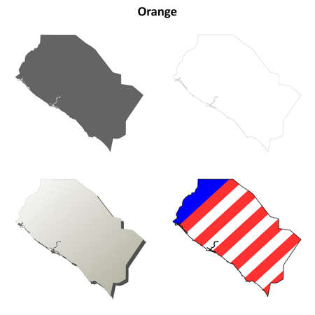 orange county: Orange County, California blank outline map set Illustration