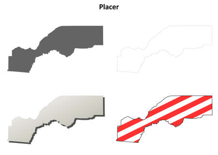 placer: Placer County, California blank outline map set Illustration